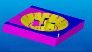 مدل شبیه سازي شده محفظه قالب